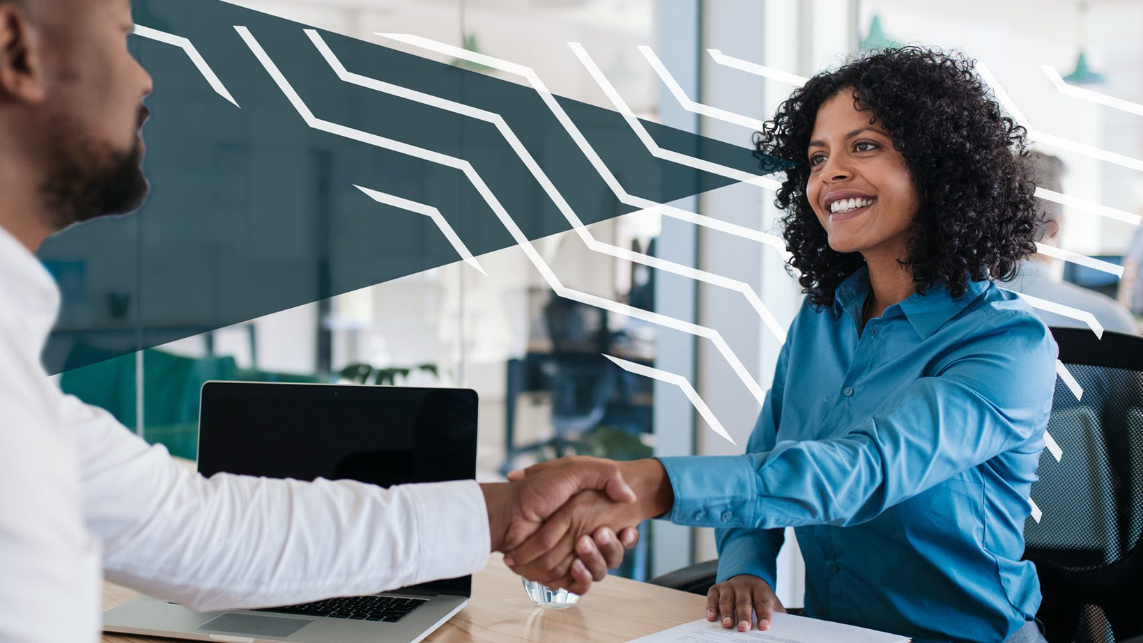 Shaking hands with franchise broker