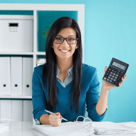 Woman calculating her taxes